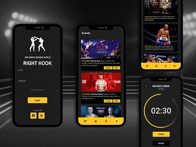 Right Hook - Boxing App app design sports branding flatdesign buttons timer fight gloves box sport yellow login events news boxer boxing dark app dark ui dark mode sport app sports design