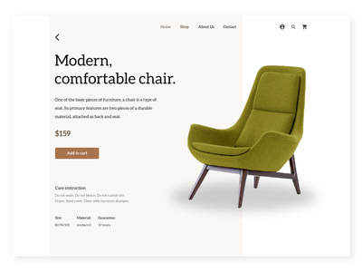 Product Page. Furniture Store. product store design store web navigation gallery modern design modern whitespace white background website concept websites website design ecommerce shop ecommerce minimalist furniture website productdesign product page furniture store