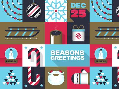 Holiday Spirit vector illustration happy xmas candycane snowflake lights sleigh present mitten snowman santa christmas illustrator illustration vector