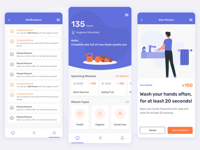 Mindfulness Mobile App healty washing clean covid19 pandemic intimate branding mobile android ios hygiene health mental health design app ux ui