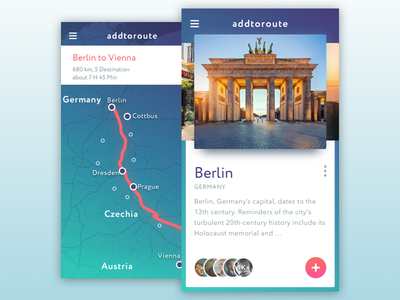 Route City Info App webdesign ux ui mobile map ios events discovery cards app trip travel