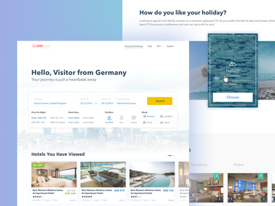 Travel Home business travel agency booking ux ui web design landing page travel