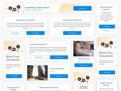 Banners ux user interface user experience platform light interactive flat design cta button cta clean ui cards booking