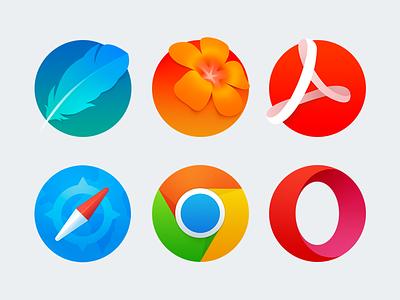 Some new icons for iconpack opera chrome safari illustrator photoshop adobe acrobat ai ps colorful icons icon