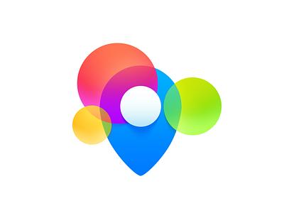 Pin logo soft blue colorful colourful balls logo pin