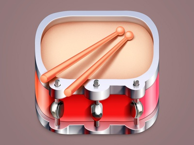Drum realistic sticks drumsticks drum design illustration colorful icons ios icon