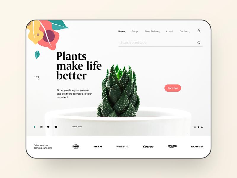 Eden Plant Shop - Landing Page trendy web design interface product design layout design website typography landing page concept design webpage ui ux web designer plant shop web design web webdesign