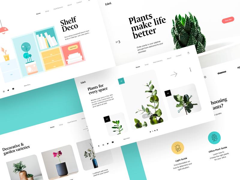 Eden Plant Shop interaction webpage interface landing ux ui web design web designer web website webdesign