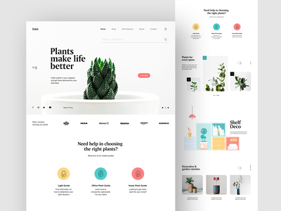 Eden Plant Shop homepage ux design ui design uiux ux ui interaction online shop plant shop web web designer webpage website design design landing website webdesign