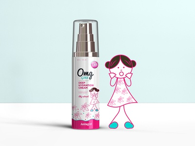 Justagirl Brand icon colors skincare logo character kids design creative vector illustration packaging graphicdesign