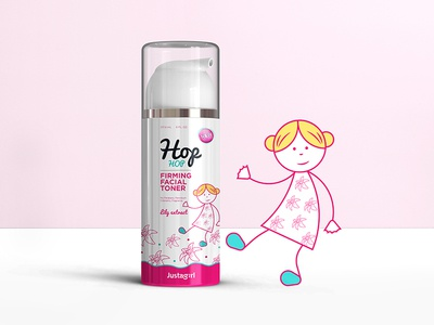 Justagirl Brand - HOP HOP color sketch product skincare cosmetic logo icon graphicdesign packaging design illustration girl