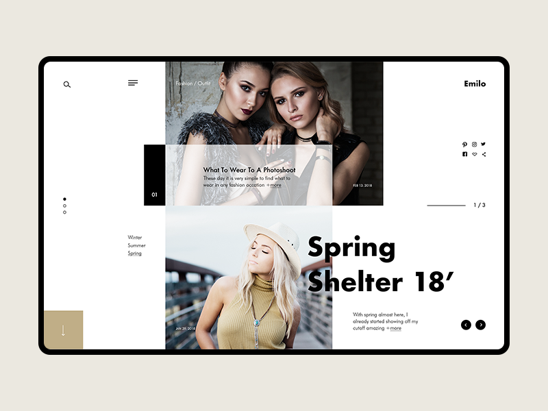 Emilo Fashion & Lifestyle Blog site graphicdesign webdesign gif fashion ui ux web blog landing website concept