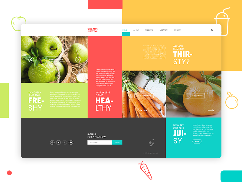 Organic Juicy Co. Landing Page design page interface landing layout website webdesign ux ui web