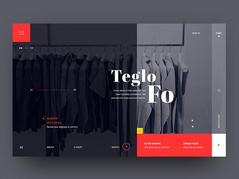 Teglo Fo fashion typography design website interface creative webpage landing webdesign layout ux ui