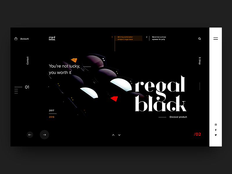 Regal Black Eyewear eyewear page layout concept fashion website webdesign ux ui typography landing