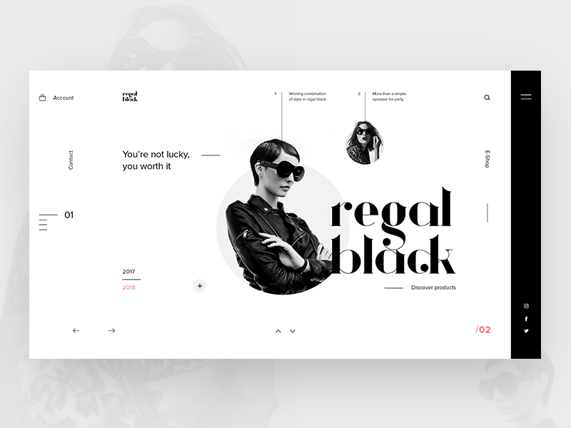Regal Black Eyewear landing typography ui ux webdesign website eyewear fashion concept layout page web