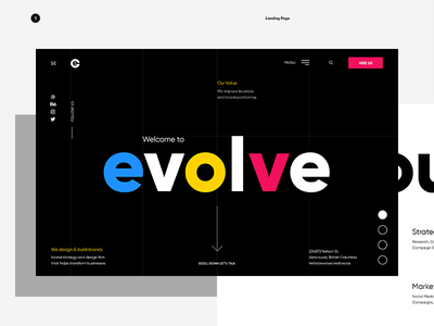Evolve - Landing Page designer landing page ui ux agency colors website typography layout