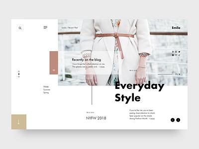 Emilo Fashion & Lifestyle Blog #3 Layout webpage typography modern layout minimalist design website web design landing concept ui ux fashion blog