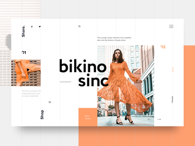 Bikino Sinc UI layout web interaction interface homepage design grid website webdesign typography concept landing page fashion blog ui ux