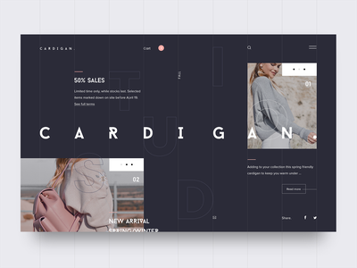 Cardigan Studio UI web design typography uxui design design interaction interface webdesign website app layout concept landing brand fashion ui ux