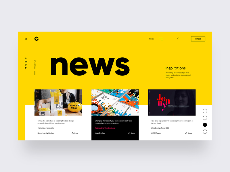 Branding Agency - News Page anim interaction design webdesign branding webpage interface marketing agency design studio creative agency designer landing page ui ux agency colors website typography layout