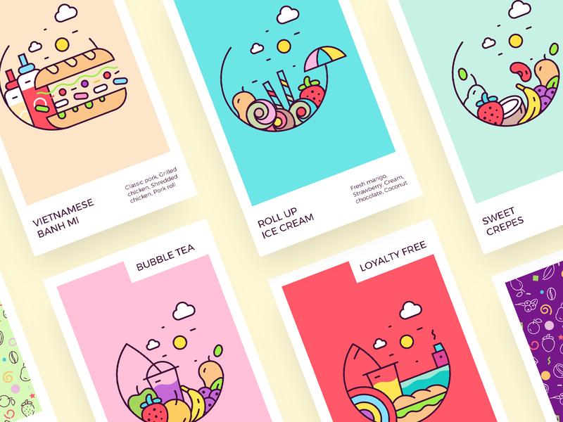 Rollesque - Illustration Set icon branding vietnamese shop ice cream colorful art creative  design design illustration art menu design rebranding illustrator illustration