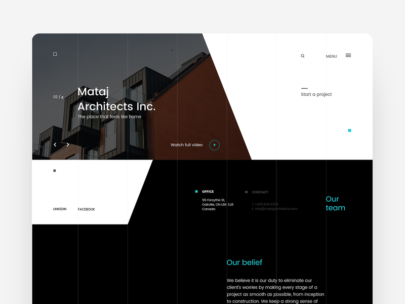 Mataj Architects - Landing page UI landing layout ui branding webpage interface landing page architechture interaction anim website architects ux ui design trend ux design animation web project webdesign typography