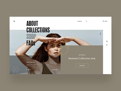 Umbrella Clothing - Homepage UI concept interaction webpage web webdesign interface layout design shop website ecommerce design online store landing page web designer typogaphy ui ux fashion clothing brand anim graphicdesign