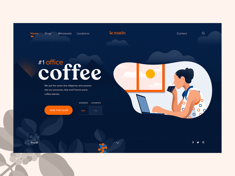 Le Matin - Landing page french morning coffee company branding app interface graphicdesign illustration art interaction landing webpage typography concept ux ui website webdesign vector illustration