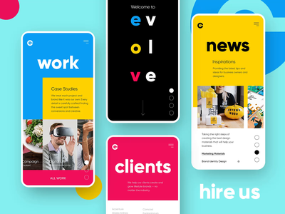 Branding Agency - Mobile Home Page Animation app mobile graphicdesign design portfolio branding agency logo coloful website layout homepage landing page webdesign typography interface interaction anim ui ux agency