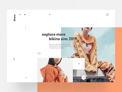 Bikino Sinc - Home Page Section #2 Layout graphicdesigner webdesigner typography ecommerce interaction interface website homepage design webpage layout landing webdesign responsive ui ux concept fashion blog fashion store bikino sinc branding