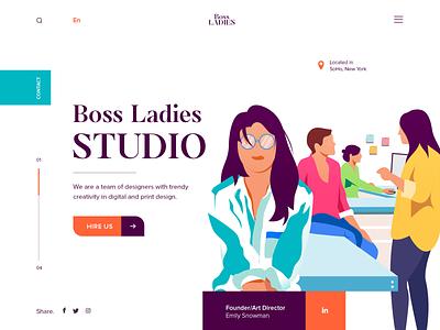 Boss Ladies Studio - Landing Page UI vector illustrations web design website
