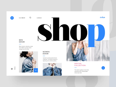 Reko Denim - Home Page Animation landing concept interface design interaction webdesigner onlinestore fashion ecommerce webpage typography ui ux animation website web webdesign