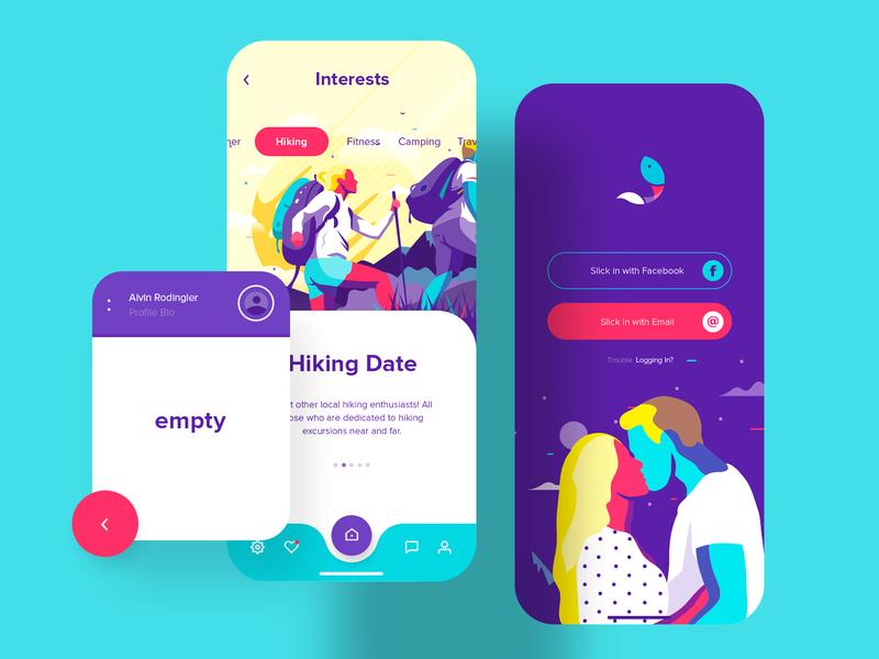 Slickfish Dating App app design illustration ui ux