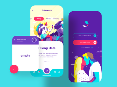 Slickfish Dating App product design ios app interaction interface mobile dating app app design app design illustration ui ux