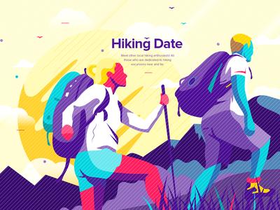 Hiking Date Illustration
