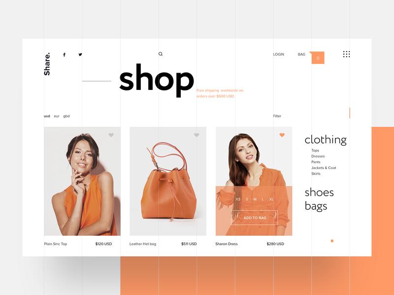 Bikino Sinc - Shop Page UI typography ui design webdesign webpage design interface layout design lifestyle blog web designer blog ecommerce site fashion store ux ui website web design