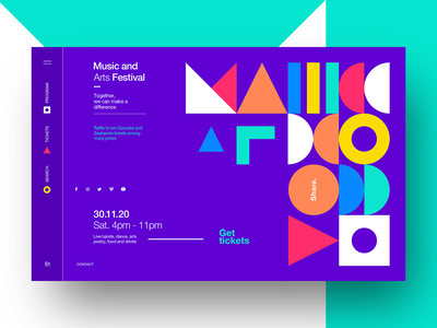 Music and Arts Festival - Landing Page typography pattern branding poster print website web design