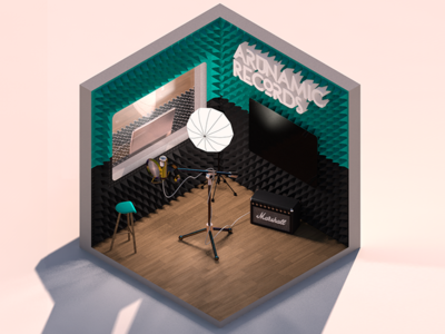 Arunamic records render polygonal lowpoly isometric illustration gamedesign sound digital recordstudio cinema4d art 3d