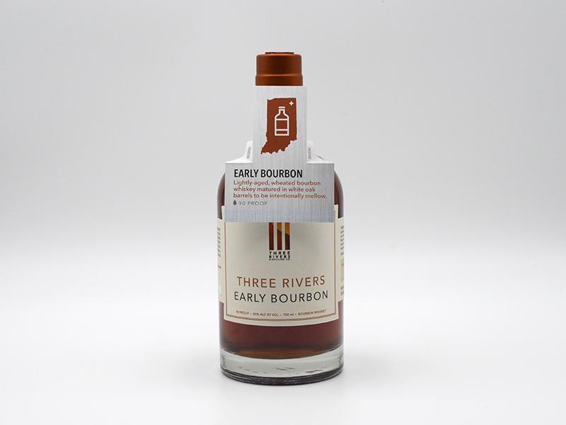 Three Rivers Distilling Co. Bottle Hangtags graphic design marketing hangtag hang tag liquor spirits distilling
