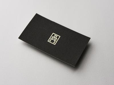 AHARON hotstamping print businesscard monograme a logotypes branding gold identity jewellerybrand jewellery
