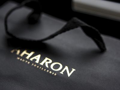 AHARON jewellerybrand hotstamping gold packaging brand fashion logo branding logotype identity jewellery