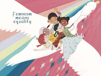 Feminism is equality female equality feminism editorial illustration