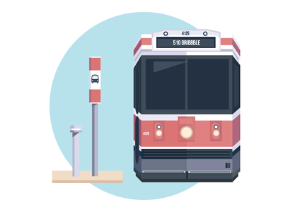 Toronto Transit red bus flat transit toronto illustration