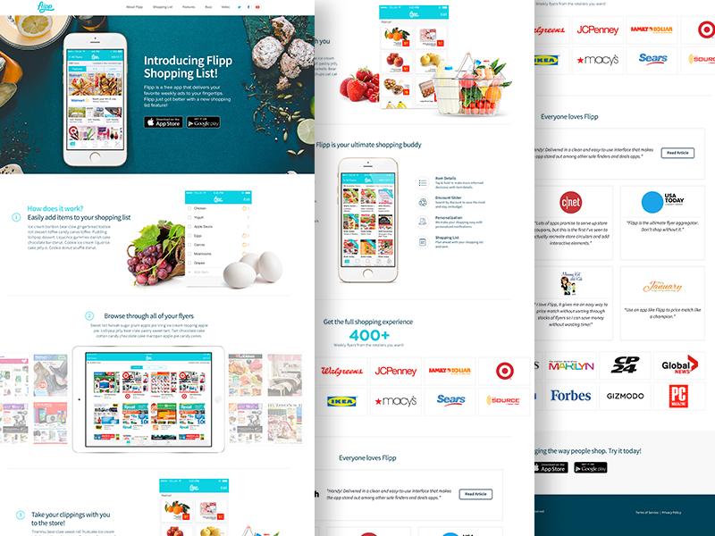 Flipp - Shopping List clean web design responsive redesign landing feature shopping list marketing website