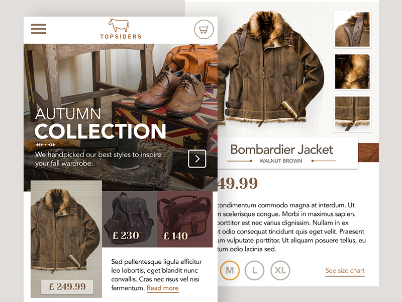 Topsiders Product Page wip ui rustic concept clothing mobile ecommerce marketing website
