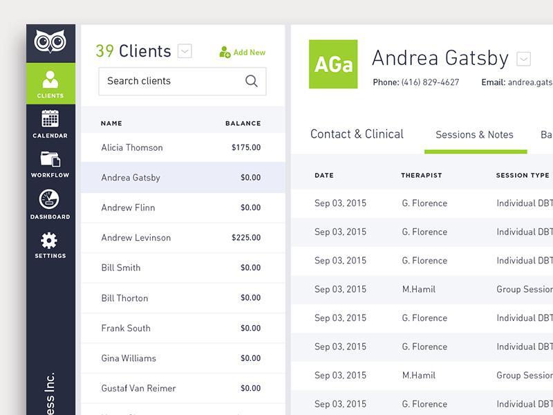 Owl Client List UI ux minimal product interface management app