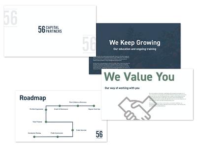 56 Capital Partners - Presentation capital brand mark logo mark logo design logo brand and identity branding brand slide deck presentation layout presentation design financial value proposition slides presentation