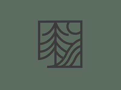 Tree, Waves, Sun - Logo Mark logo design brand identity outdoors mountain trees colorado brand design branding minimal brand logo