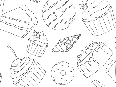 Sweets & Treats - Black & White cake coloring page illustration slice of cake pattern doughnut ice cream cone cupcake food dessert treats sweets